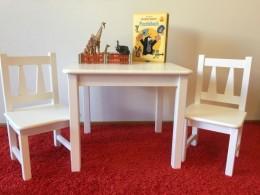 Kindersitzgruppe-1x-Kindertisch-2x-Kinderstuhl-Massivholz Weiß