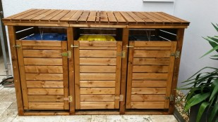 Mülltonnenbox aus Holz für 3 Mülltonnen
