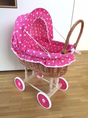 Puppenwagen mit Decke und Kissen Pink große Punkte