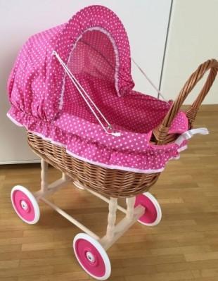 Puppenwagen Weide Stubenwagen  mit Kissen und Decke Pink kleine Punkte